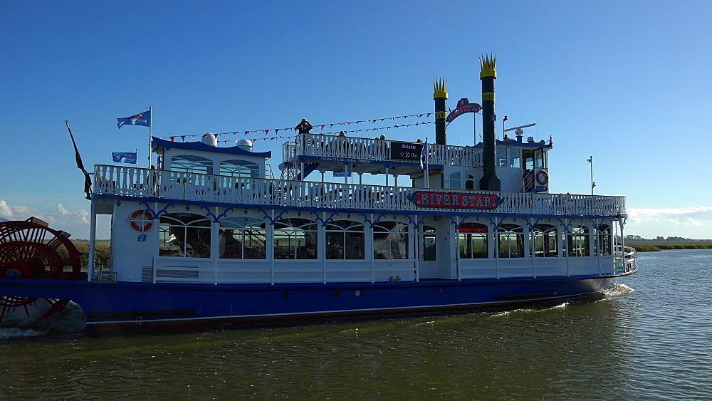Cruise vessel on Bodden near Zingst, Fischland-Darss-Zingst, Mecklenburg-Western Pomerania, Germany