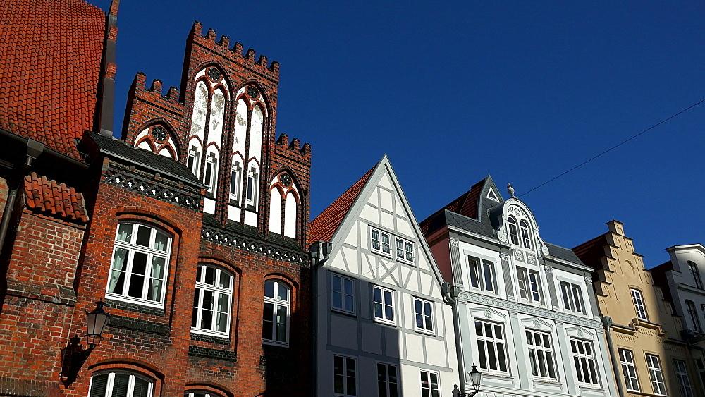 Houses at Fischerreihe, Wismar, Mecklenburg-Western Pomerania, Germany