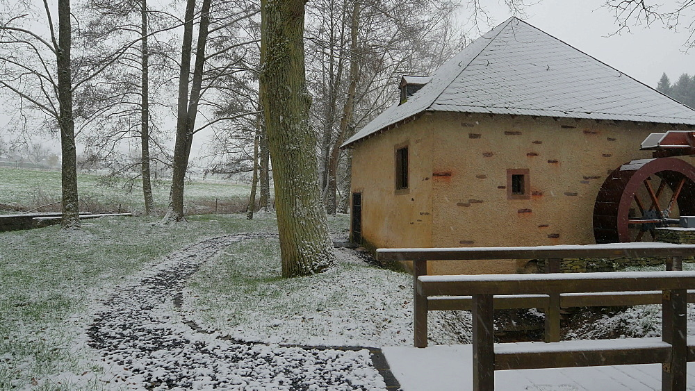 Historical Oil Mill near Niedermmenig in winter, Konzer Taelchen, Rhineland-Palatinate, Germany, Europe