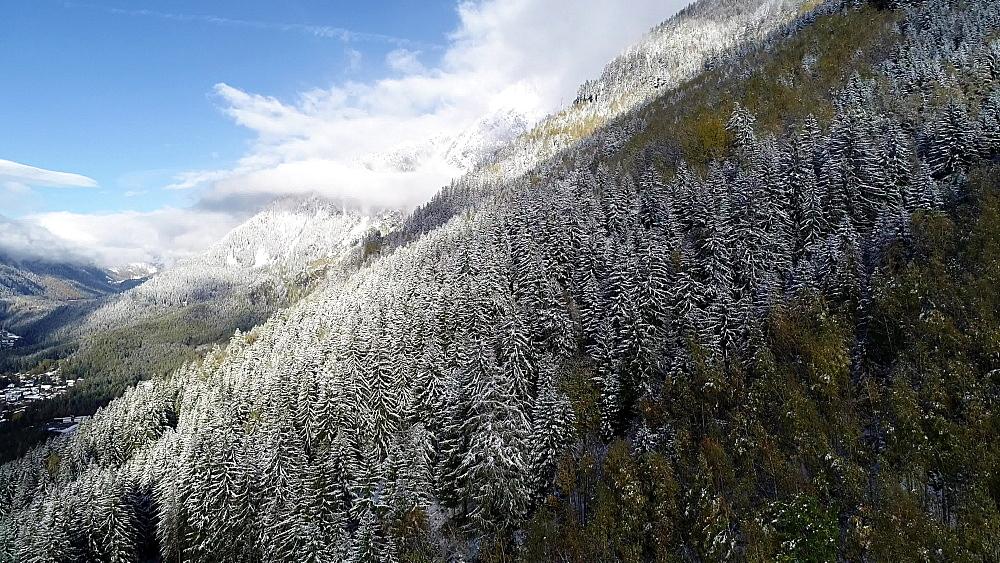 Europe, France, Haute Savoie, Rhone Alps, Chamonix, early season snowfall in autumn - 733-8124