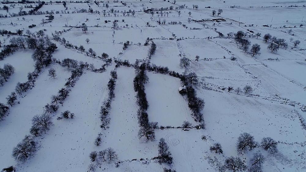 Overhead winter view of Bansko town, Bulgaria, Europe