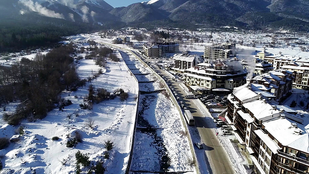 Overhead winter view of Bansko town and Pirin National Park, UNESCO World Heritage Site, Bulgaria, Europe