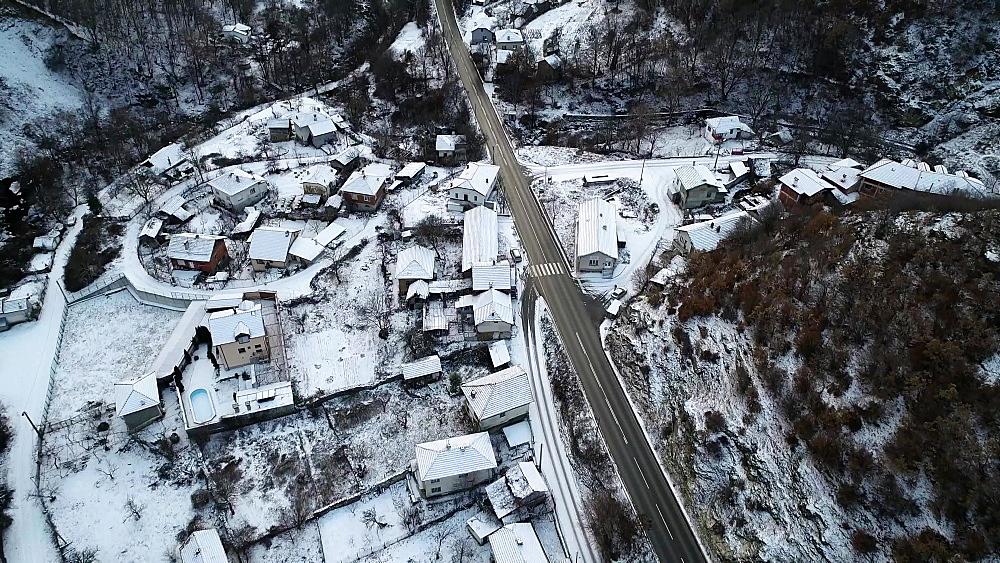 Aerial view of villages of Rila, Bulgaria, Europe - 733-8170
