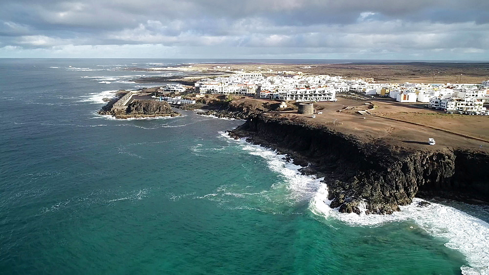 Coastal view and El Cotillo town, Fuerteventura, Canary Islands, Spain, Atlantic, Europe