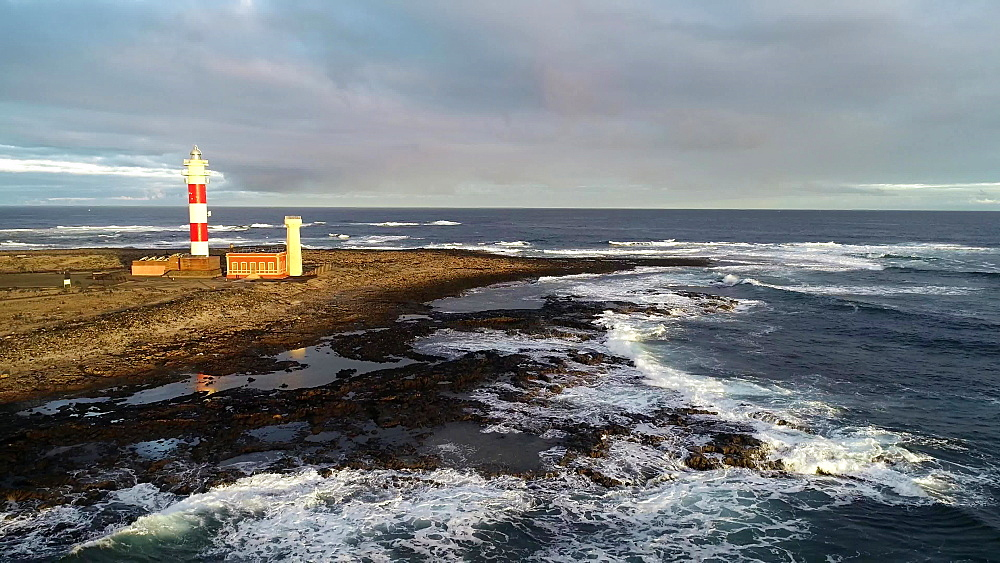 Lighthouse Faro del Toston at dawn, Fuerteventura, Canary Islands, Spain, Atlantic, Europe
