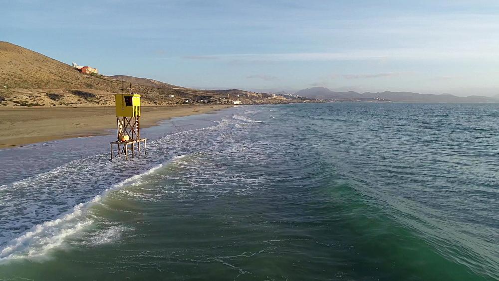 Lifeguard platform at Laguna de Sotovento, Fuerteventura, Canary Islands, Spain, Atlantic, Europe