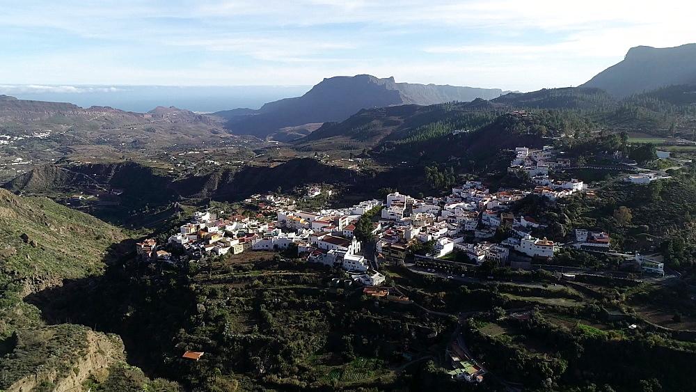 Aerial view of the town, San Bartolome de Tirajana, Gran Canaria, Canary Islands, Spain, Atlantic, Europe