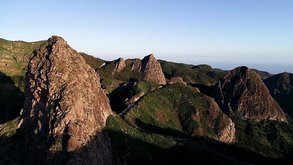 Roque de Agando, bordering Garajonay National Park, La Gomera, Canary Islands, Spain, Atlantic, Europe
