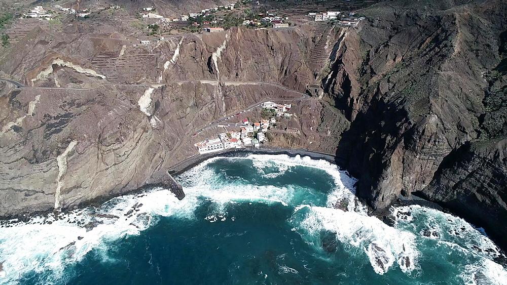 Harbour and seaside houses in Alojera, La Gomera, Canary Islands, Spain, Atlantic, Europe