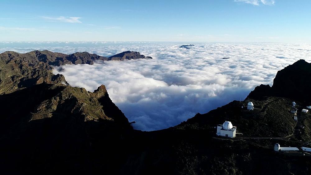 Volcanic caldera and astronomical observatories near National Park Caldera de Taburiente, UNESCO Biosphere Site, La Palma, Canary Islands, Spain, Atlantic, Europe