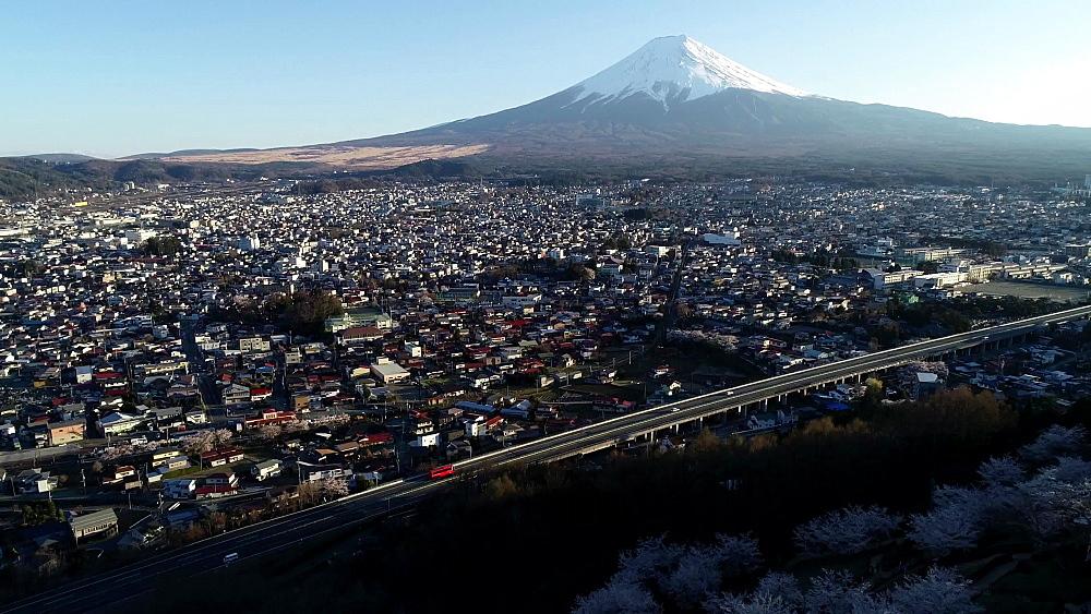 Mount Fuji and Fujiyoshida, Yamanashi Prefecture, Japan, Asia