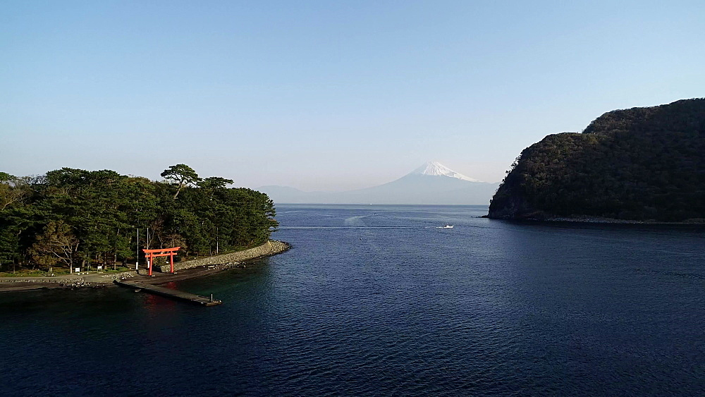 Mount Fuji and torii gate viewed from Izu Hanto Peninsula, Heda, Shizuoka Prefecture, Honshu, Japan, Asia - 733-8497