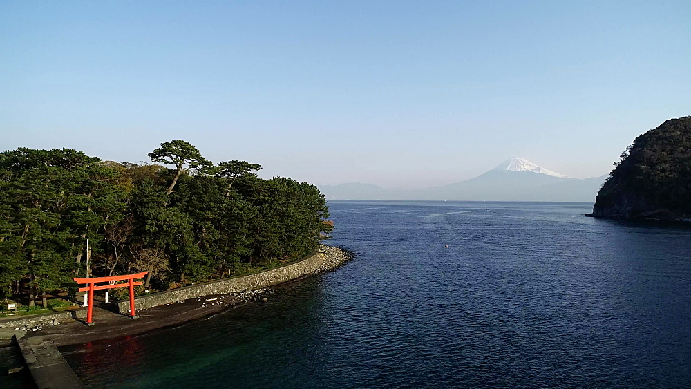 Mount Fuji and torii gate viewed from Izu Hanto Peninsula, Heda, Shizuoka Prefecture, Honshu, Japan, Asia - 733-8498