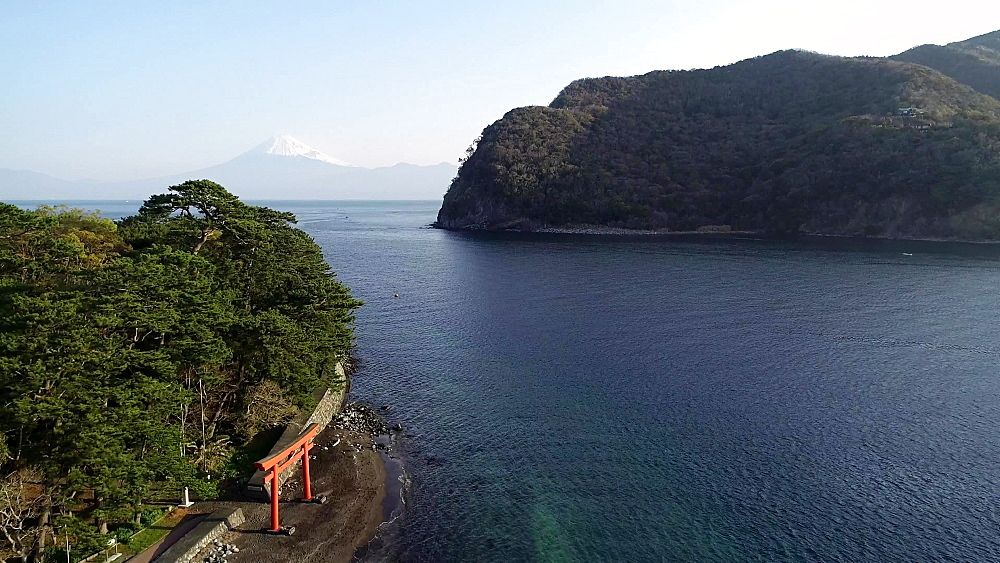 Mount Fuji and torii gate viewed from Izu Hanto Peninsula, Heda, Shizuoka Prefecture, Honshu, Japan, Asia - 733-8499