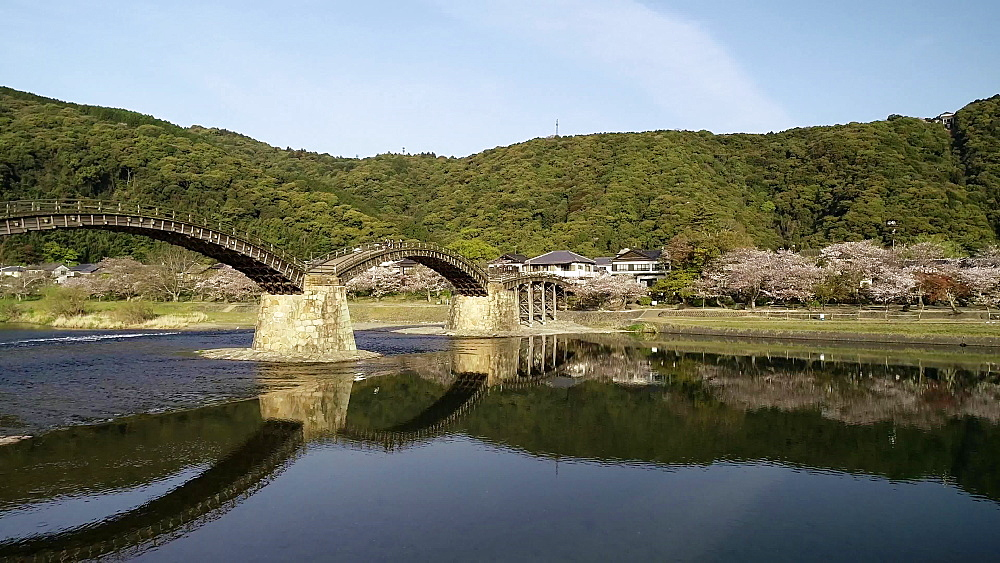 Kintaikyo Bridge, five arched wooden bridge, Iwakuni, Yamaguchi Prefecture, Japan, Asia - 733-8530