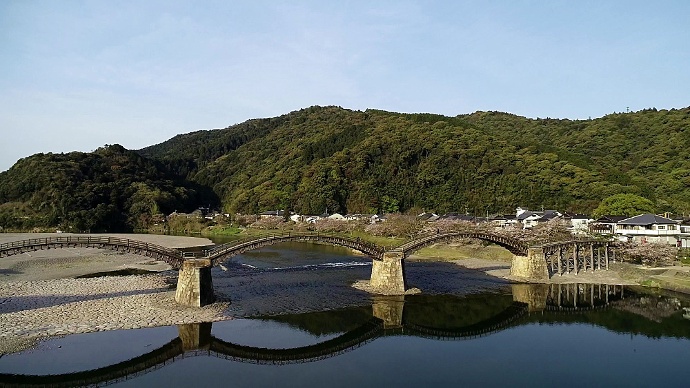 Kintaikyo Bridge, five arched wooden bridge, Iwakuni, Yamaguchi Prefecture, Japan, Asia - 733-8531