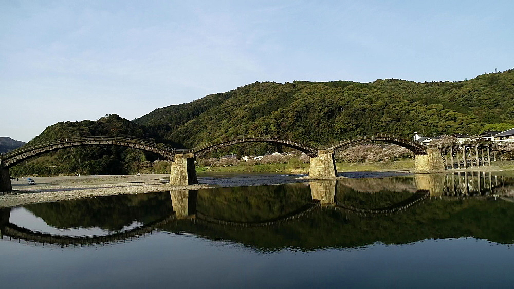 Kintaikyo Bridge, five arched wooden bridge, Iwakuni, Yamaguchi Prefecture, Japan, Asia - 733-8532