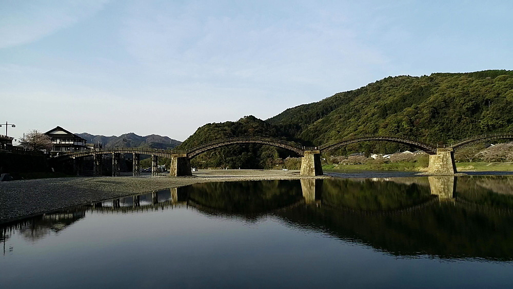 Kintaikyo Bridge, five arched wooden bridge, Iwakuni, Yamaguchi Prefecture, Japan, Asia - 733-8533