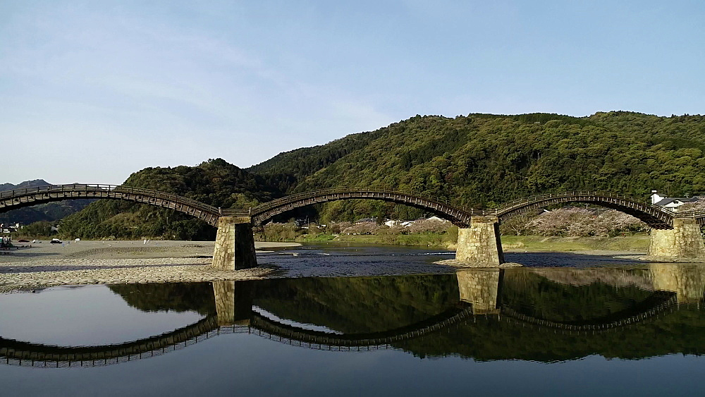 Kintaikyo Bridge, five arched wooden bridge, Iwakuni, Yamaguchi Prefecture, Japan, Asia - 733-8534