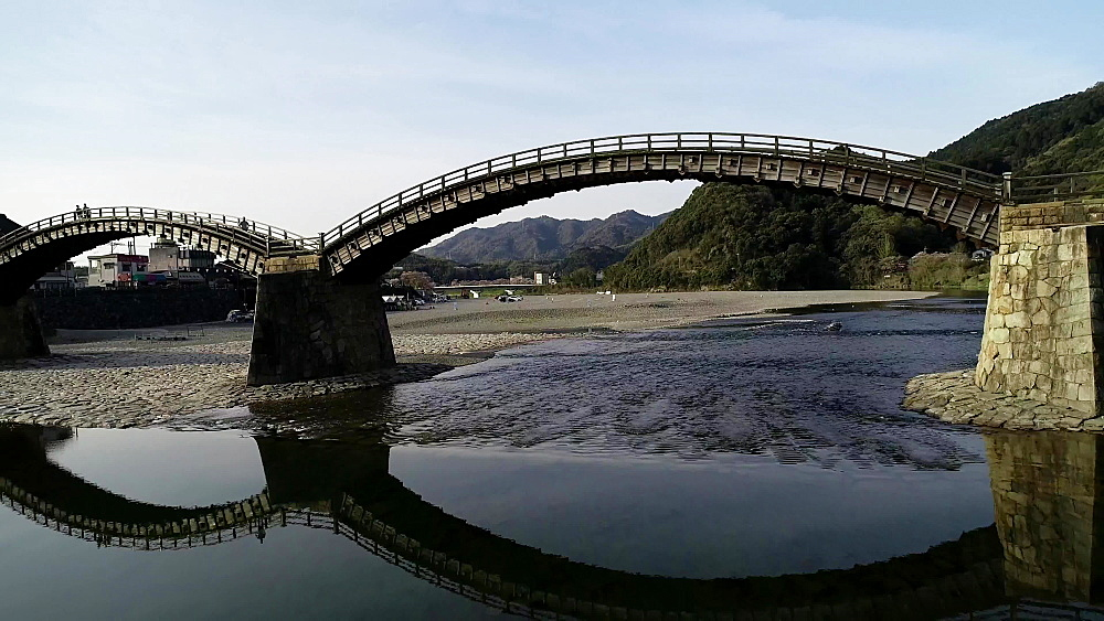 Kintaikyo Bridge, five arched wooden bridge, Iwakuni, Yamaguchi Prefecture, Japan, Asia - 733-8535
