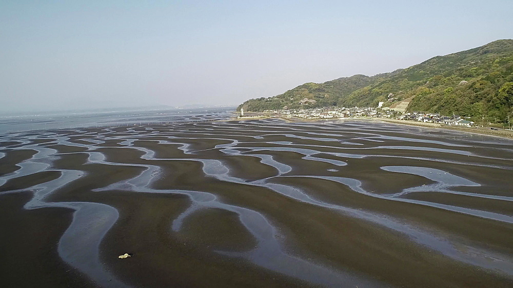 Patterns in the sand on a beach at low tide, Kumamoto Prefecture, Japan, Asia - 733-8544