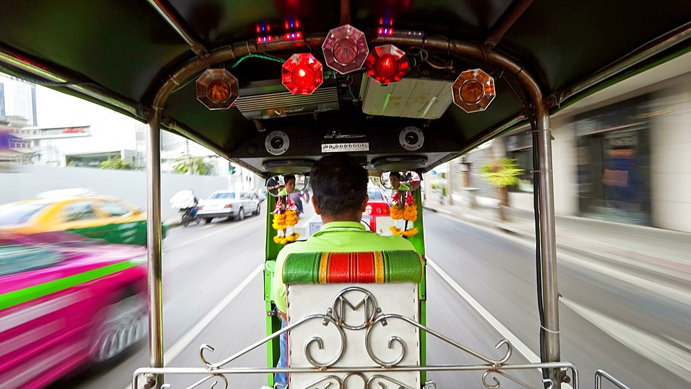 Time Lapse of a Speeding Rickshaw on the busy roads of Bangkok, Thailand, Asia - 794-1729