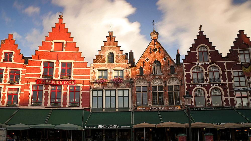 The Original Architecture of buildings in Burg Square, the Old Town Square, Bruges, Belgium, T/Lapse - 794-1732