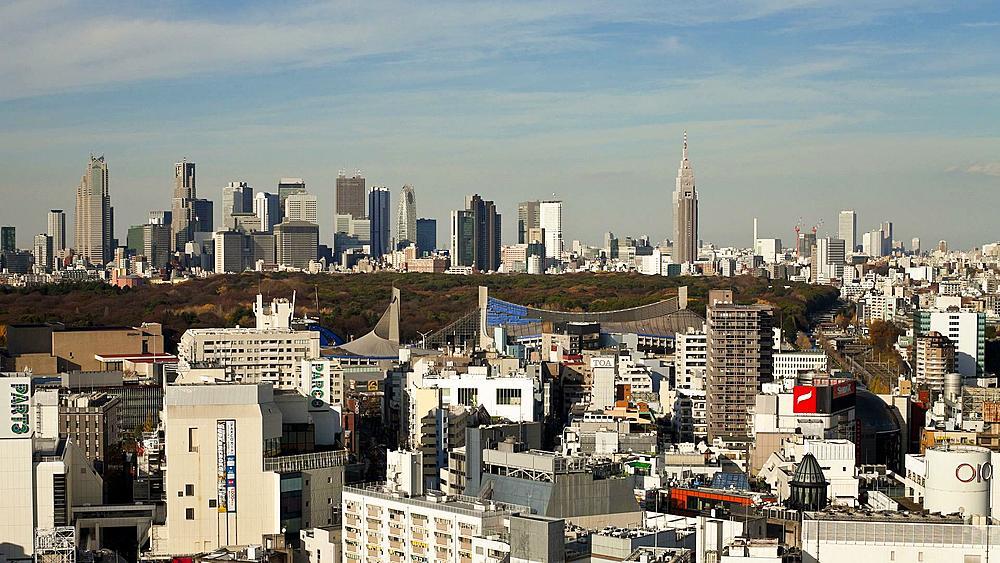 Elevated view from Shibuya looking towards the financial centre skyline of Shinjuku, Tokyo, Honshu, Japan, Asia