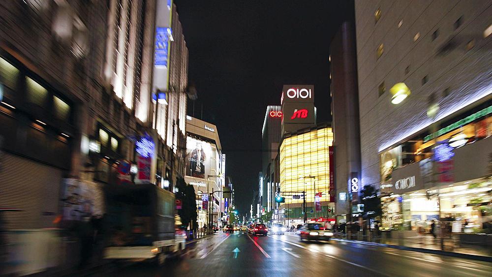 POV Streets at night seen from driving car, Shinjuku Ward, Tokyo, Honshu, Japan, Asia, T/Lapse