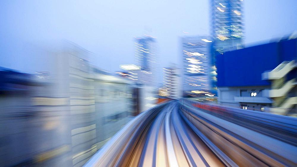 POV, Elevated train journey across the Rainbow Bridge and through Tokyo, Honshu, Japan, Asia - T/Lapse