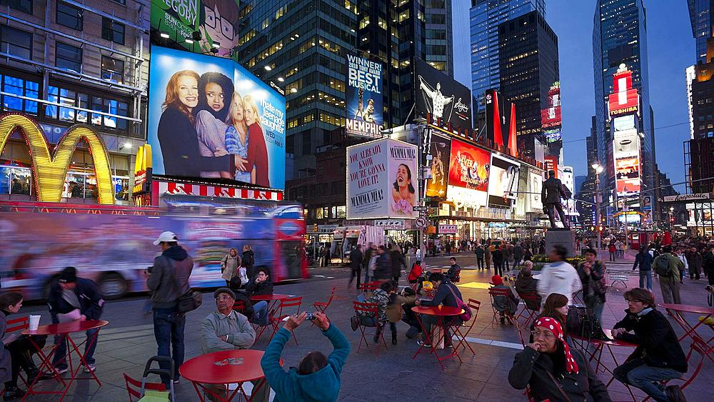 Neon lights of 42nd Street, Times Square, Manhattan, New York City, New York, United States of America, North America, Time-lapse - 794-2301