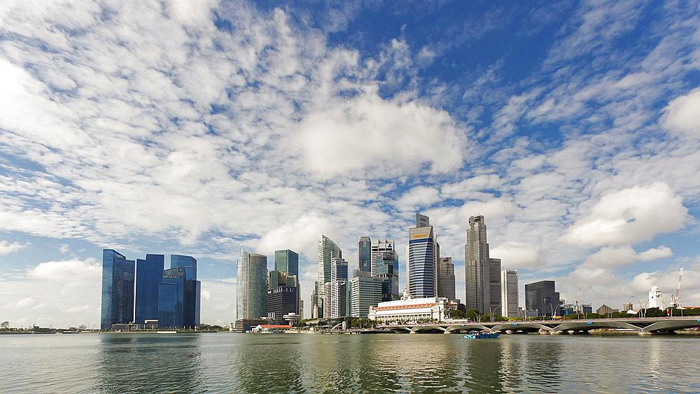 City Skyline, View across Marina Bay to the Financial and Business district of Singapore, South East Asia, Time lapse - 794-2419