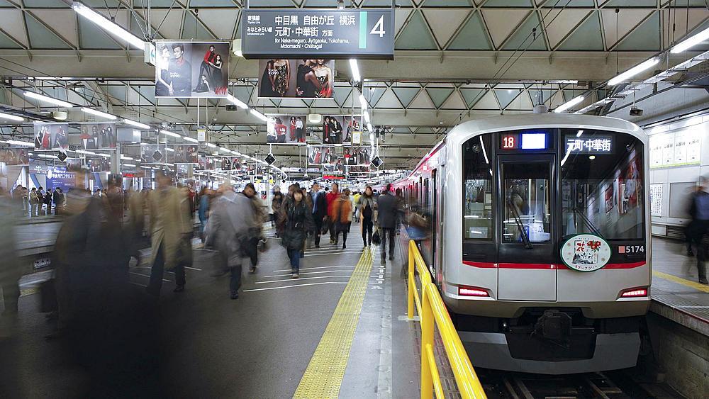 T/L Commuters at Shibuya Station at rush hour, Shibuya, Tokyo, Honshu, Japan