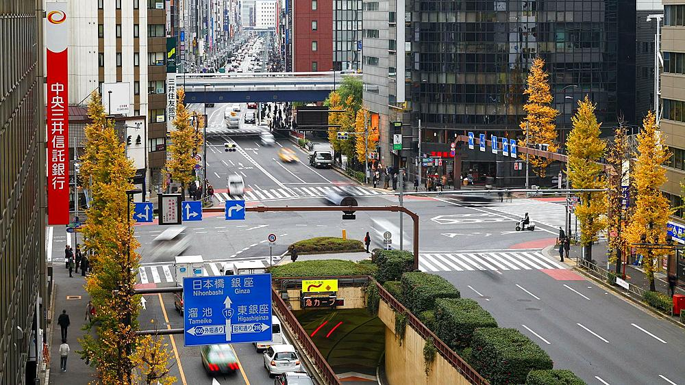 T/L Elevated view along Chuo-dori, the most fashionable shopping street in Tokyo, Ginza, Tokyo, Honshu, Japan, Asia