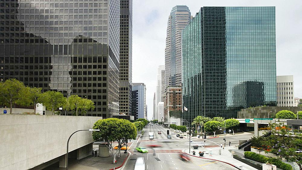 T/lapse Freeway, Figueroa at Wiltshire, Downtown, Los Angeles, California, United States of America