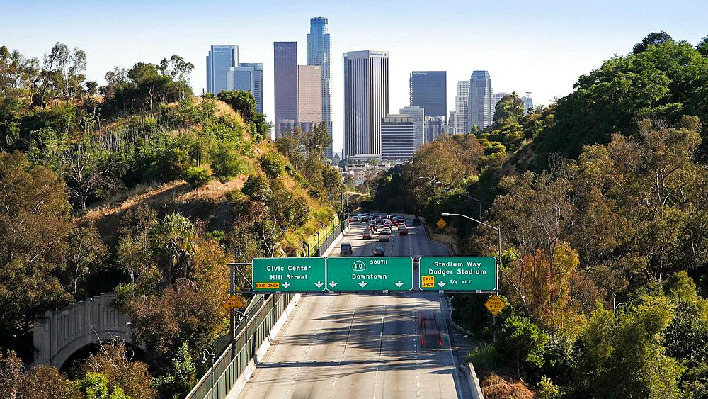 Pasadena Freeway leading into the financial centre of Downtown Los Angeles, California, United States of America,T/lapse