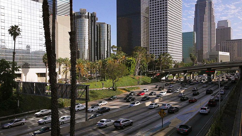The 110 Harbour Freeway and Downtown Los Angeles skyline, California, United States of America