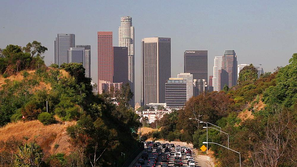 Pasadena Freeway, CA Highway 110, Leading to Downtown Los Angeles, California, United States of America