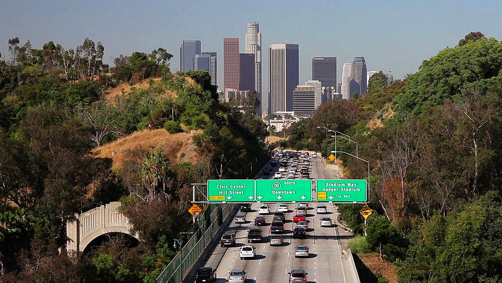 Pasadena Freeway CA Highway 110 Leading to Downtown Los Angeles, California, United States of America