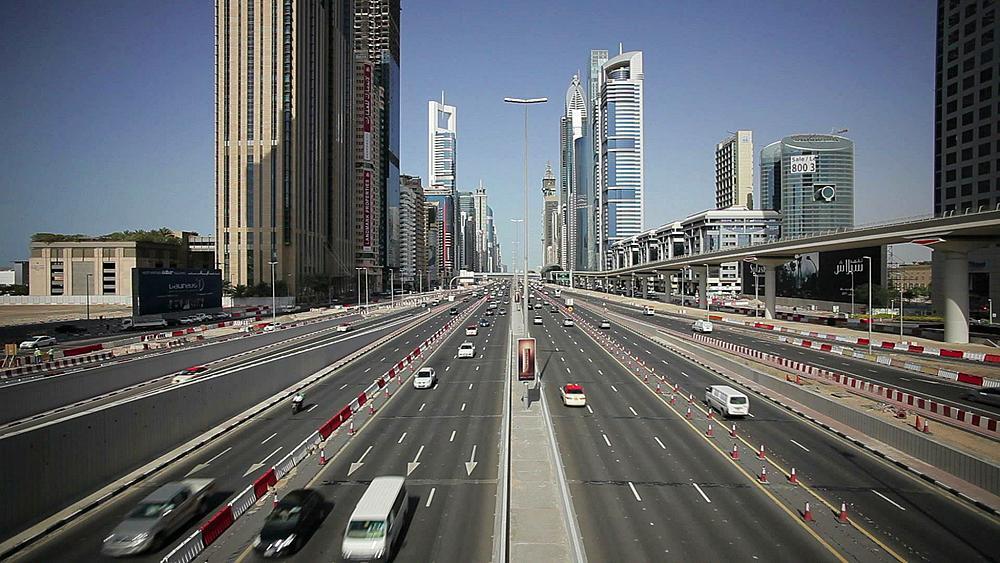 Sheikh Zayed Rd, traffic and new high rise buildings along Dubai's main road, Dubai, United Arab Emirates, Middle East