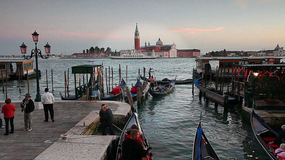 Quay at St Mark's Square with Gondolas and the view to San Giorgio Maggiore Island, Venice, Italy, Europe - 794-3031
