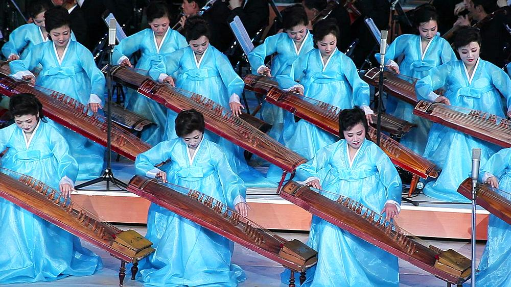 Pyongyang, Women performing during a concert at the Pyongyang concert hall, North Korea, DPRK, Asia - 794-3091
