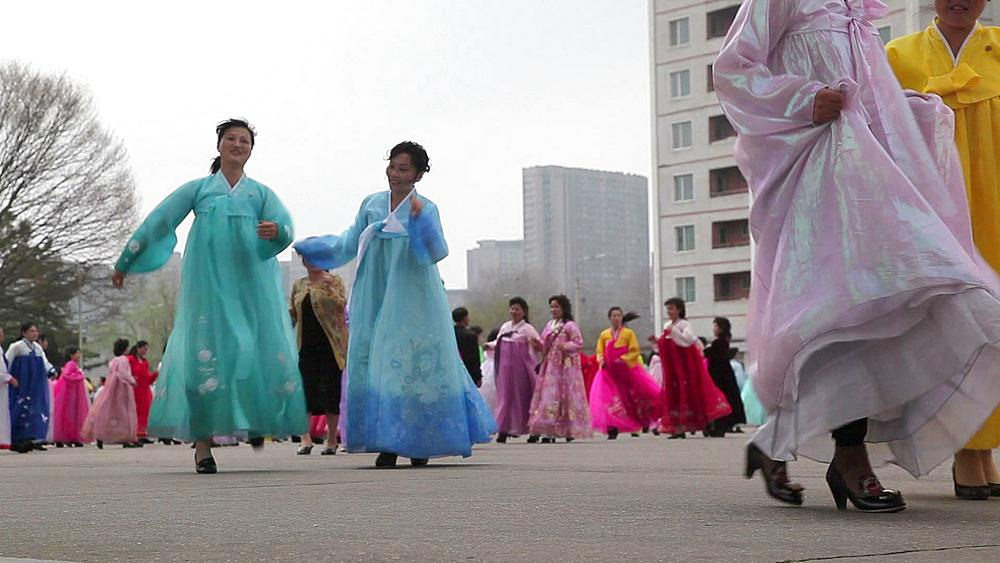 Pyongyang, mass dancing in the streets to celebrate the 100th anniversay of the birth of President Kim Jong Il, April 15th 2012, North Korea, Asia - 794-3098