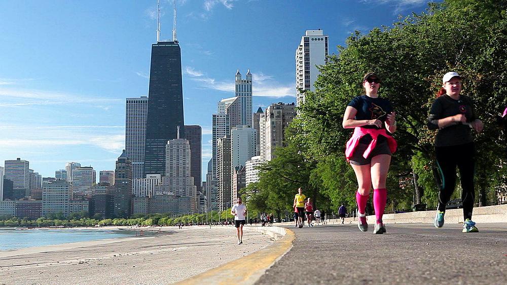 USA, Illinois, Chicago, City skyline from Lake Michigan