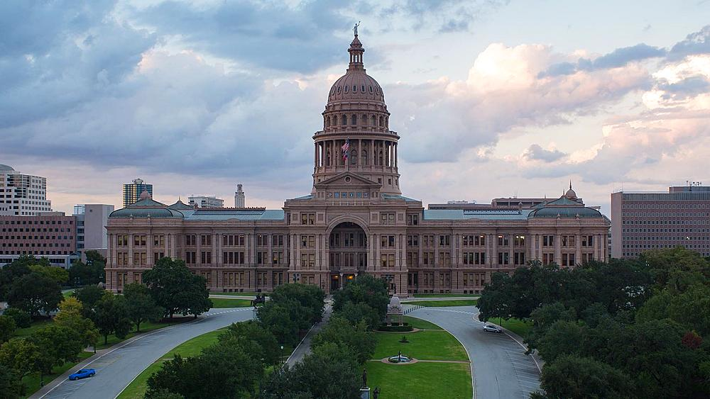 Austin, Texas, USA, State Capitol Building, time-lapse, day to night