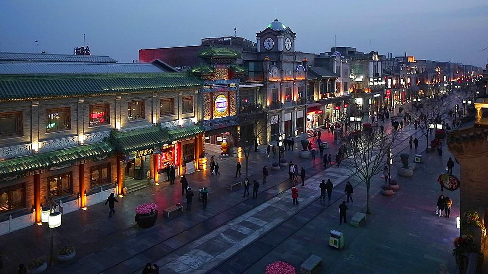 Reconstructed traditional pedestrian street built for tourists at Qianmen in Beijing, China