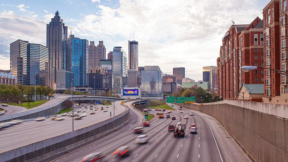 Interstate I-85 leading into Downtown Atlanta, Georgia, United States of America