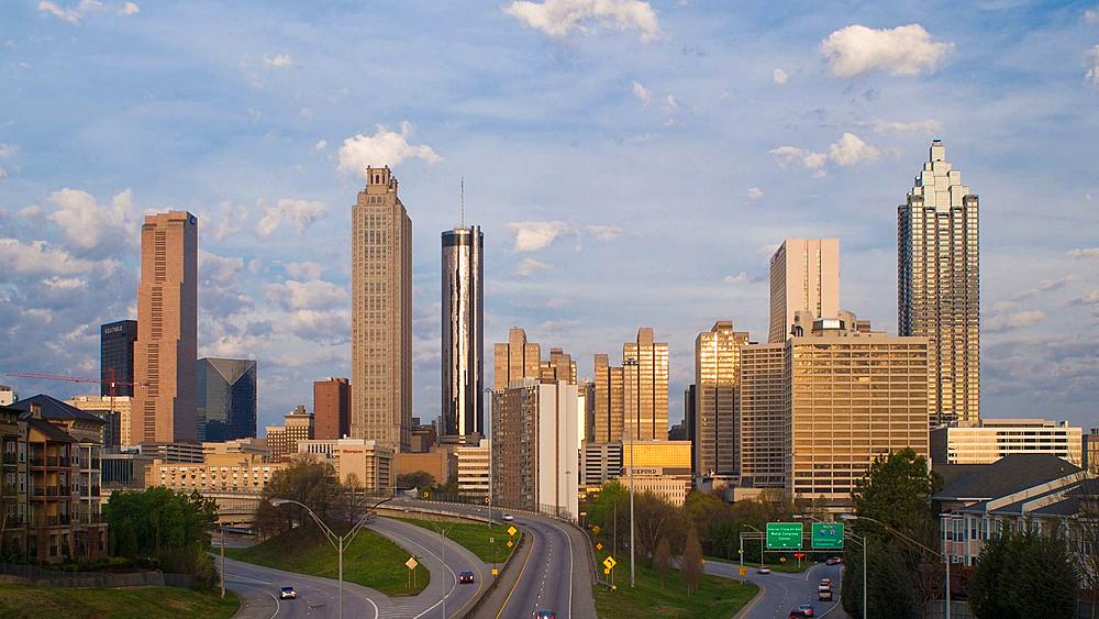 Elevated view over Freedom Parkway and the Downtown Atlanta skyline, Georgia, United States of America