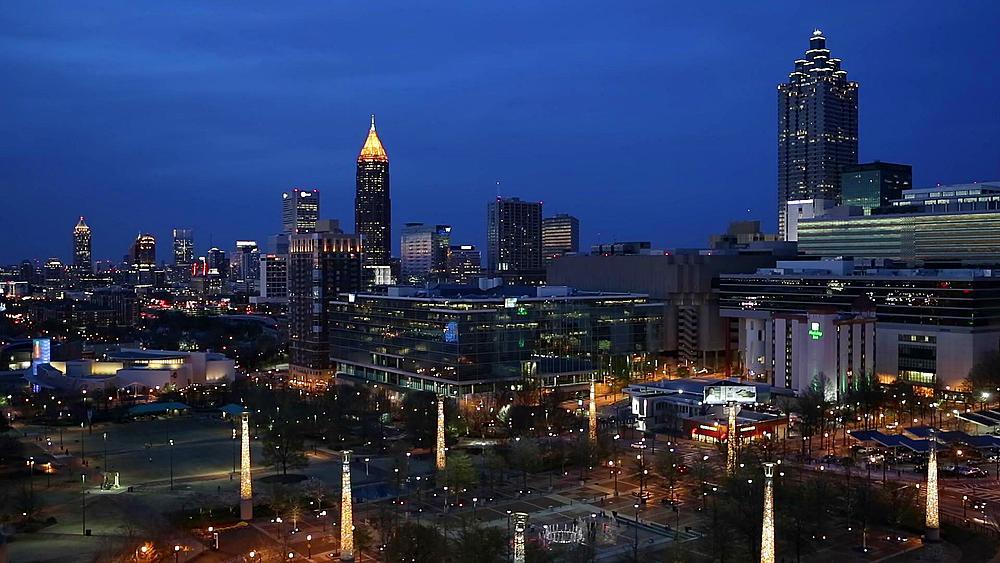 City Skyline at dusk, Atlanta, Georgia, United States of America