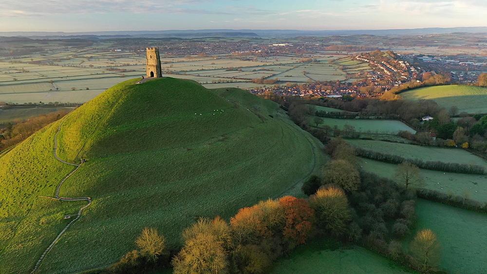 Aerial of Glastonbury Tor in morning light, Glastonbury, Somerset, England, United Kingdom, Europe - 799-4029